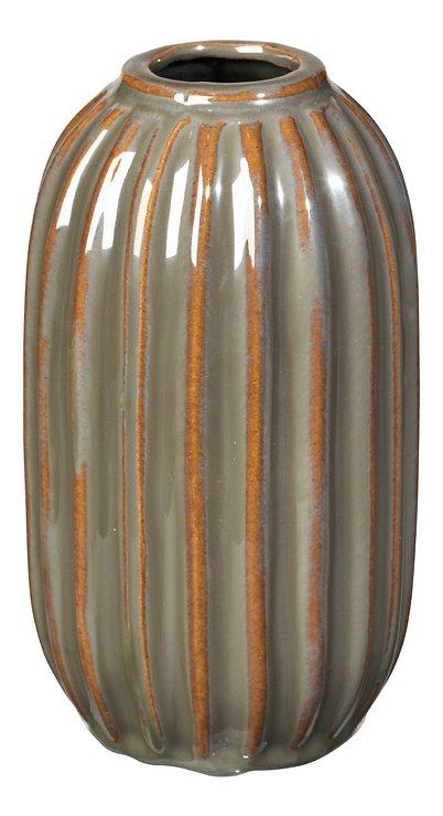 Broste Vase Lines Keramik grün 15,5 cm - Pic 1