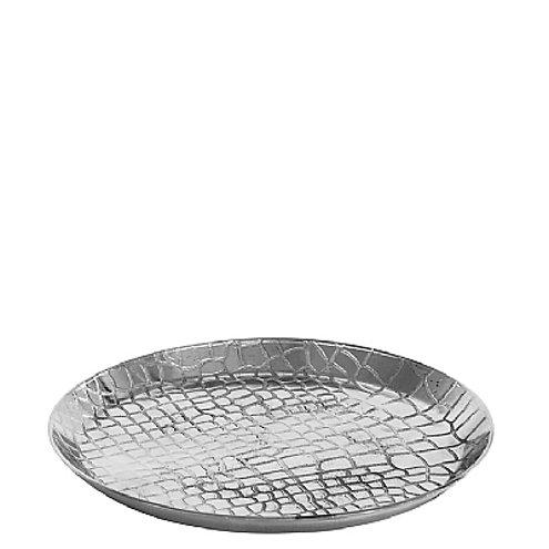 Broste Kerzenschale Crocodile Aluminium silber rund 13cm