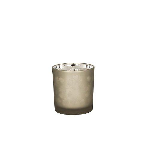 Broste Teelichthalter Hurricane Leaf Glas 8cm