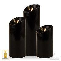 Luminara LED Kerzen 3er Set schwarz D 8cm glatt mit Fernbedienung