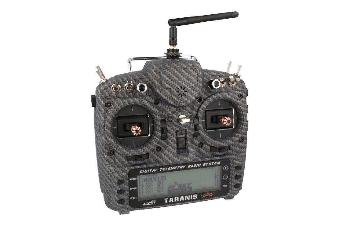 FrSky Taranis X9D Plus SPECIAL EDITION mit M9 Hall Sensor Gimbal + Matt Carbon Fiber + Soft Case - Pic 1