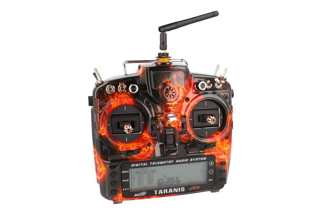 FrSky Taranis X9D Plus SPECIAL EDITION mit M9 Hall Sensor Gimbal + Blazing Skull + Soft Case - Pic 1