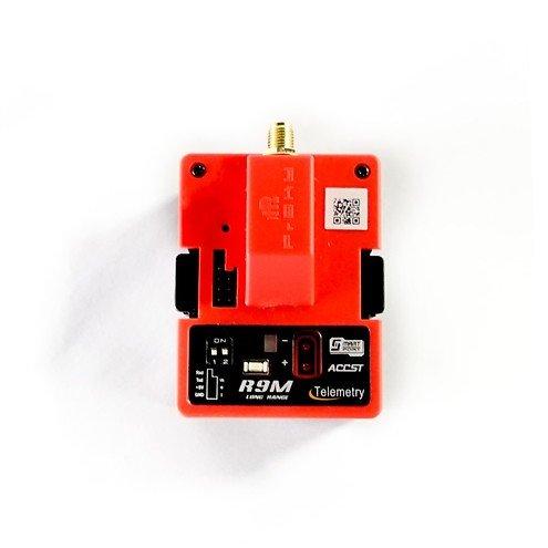 FrSky R9M Longrange Sende Modul in Rot mit Antenne