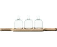 LSA Servierplatte Paddle mit Glashauben 45cm klar