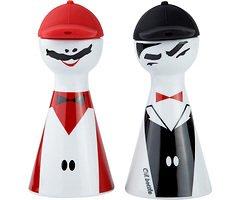 Galzone Figur Öl-Essig-Set Porzellan/Silikon schwarz/rot