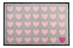 Gift Company Fußmatte waschbar Polka Hearts 50 x 75 cm grau rosa