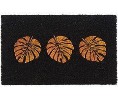 Gift Company Fußmatte Kokos Monsterablätter 45 x 75 cm schwarz gold glitzer