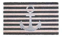 Gift Company Fußmatte Kokos Anker 45 x 75 cm grau silber glitzer