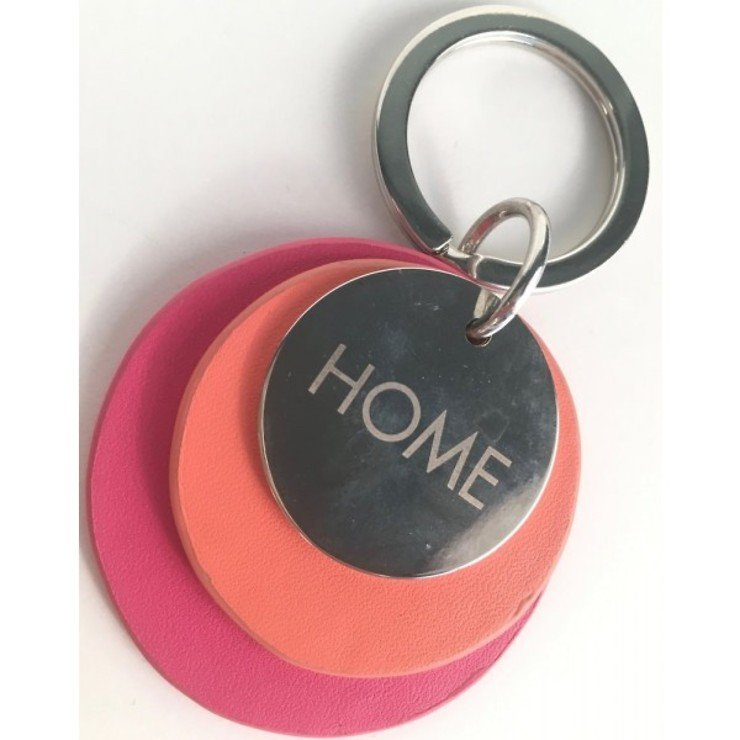 Gift Company Schlüsselanhänger Home Leder pink orange - Pic 1