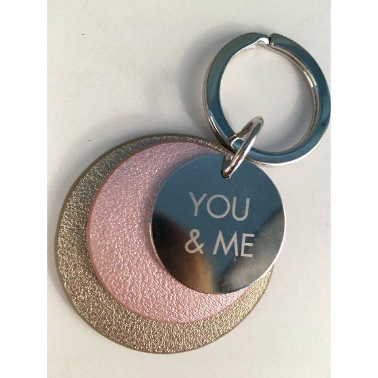 Gift Company Schlüsselanhänger YOU and ME Leder rose beige - Pic 1