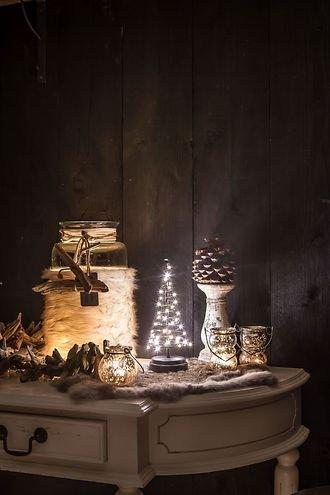 Christmas United LED Weihnachtsbaum 40 LED innen 25cm Metall kupfer