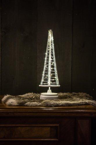 Christmas United LED Weihnachtsbaum 60 LED innen 32cm Metall silber