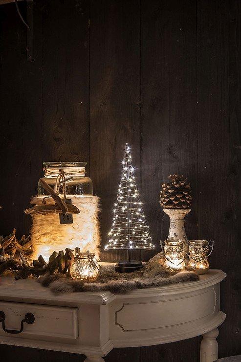 Christmas United LED Weihnachtsbaum 60 LED innen 32cm Metall silber - Pic 2