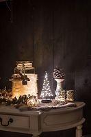 Christmas United LED Weihnachtsbaum 40 LED innen 25cm Metall silber
