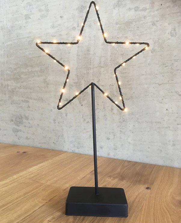 Lights4Christmas Leuchtstern stehend 30 LED 40cm Metall schwarz - Pic 1