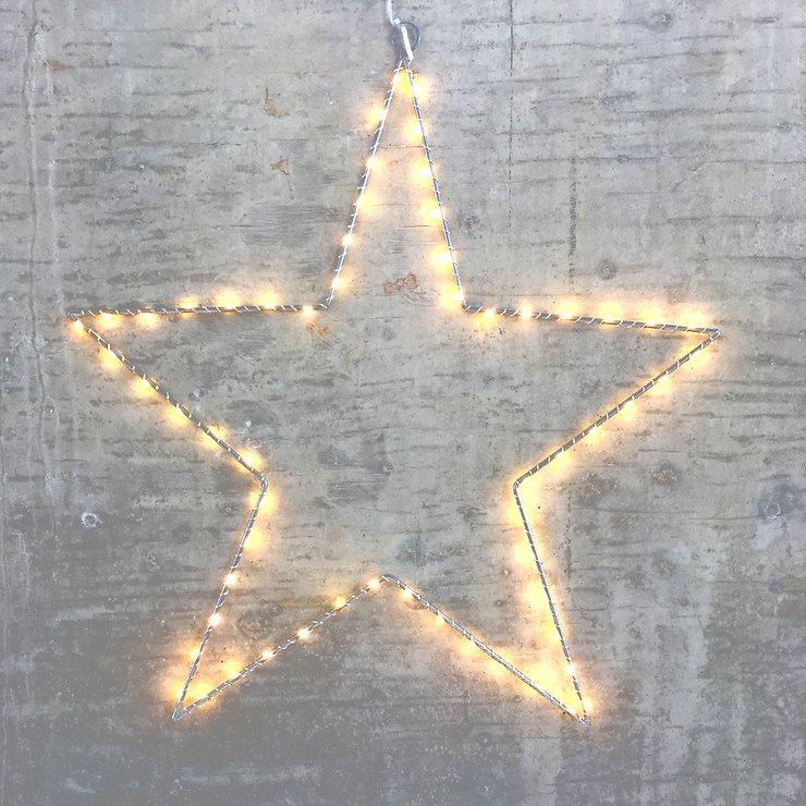 Lights4Christmas Leuchtstern 60 LED 50cm Metall silber außen - Pic 1
