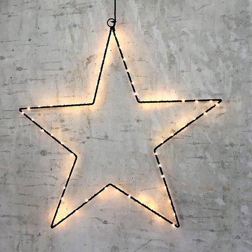 Lights4Christmas Leuchtstern 60 LED 50cm Metall schwarz außen