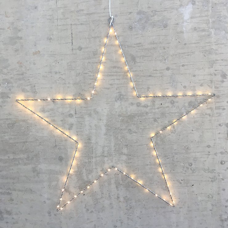 Lights4Christmas Leuchtstern 80 LED 70cm Metall silber außen - Pic 1