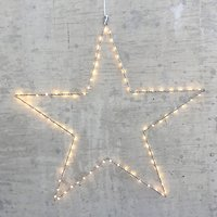 Lights4Christmas Leuchtstern 80 LED 70cm Metall silber außen