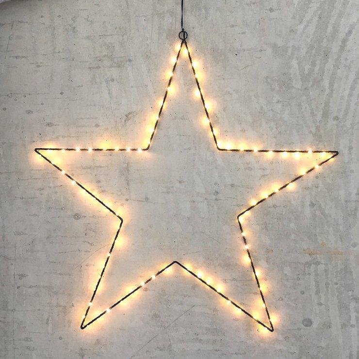 Leuchtstern 80 LED 70cm Metall schwarz außen - Pic 1