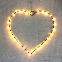 Lights4Christmas Leuchtherz small 30 LED 30 cm batteriebetrieben Metall schwarz