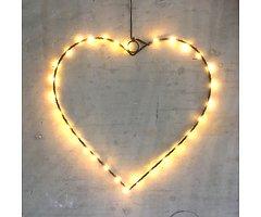 Lights4Christmas Leuchtherz medium 60 LED 45 cm Metall schwarz
