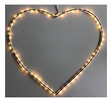 Lights4Christmas Leuchtherz big 80 LED 64 cm Metall silber
