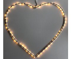 Lights4Christmas Leuchtherz big 80 LED 64 cm Metall silber