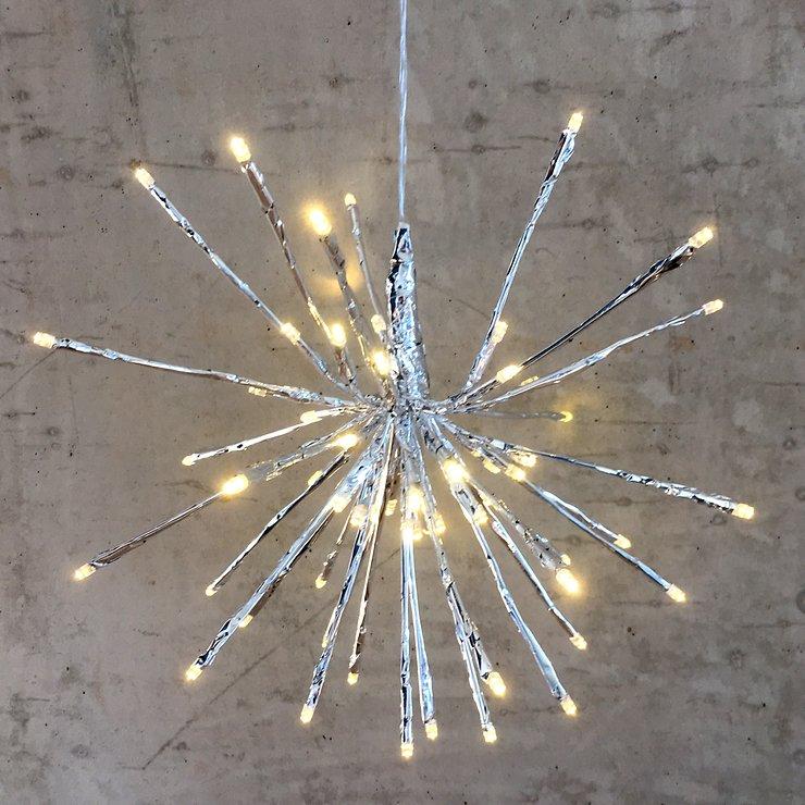 Lights4Christmas Leuchtball Sputnik 64 LED 30cm Metall silber außen - Pic 1
