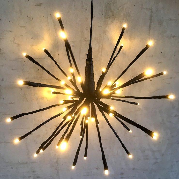 Lights4Christmas Leuchtball Sputnik 64 LED 30cm Metall schwarz außen - Pic 1