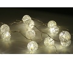 Lights4Christmas LED Lichterkette Batterie Silberdraht 20 Kugeln 2m