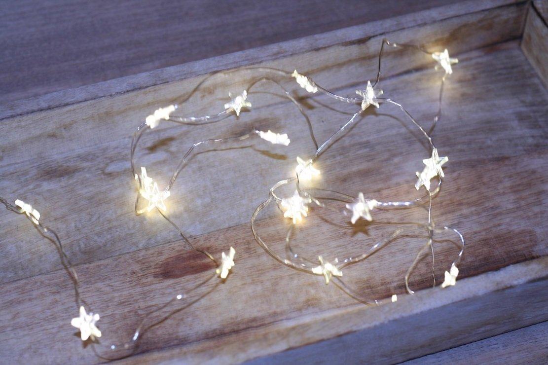 LED Lichterkette Batterie Silberdraht 20 Sterne 2m kaufen ...