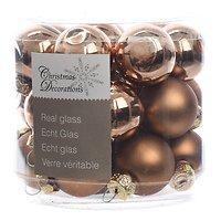 Kaemingk Weihnachtskugeln Mini 2,5cm Glas glanz/matt 24 Stück braun
