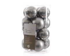 Kaemingk Weihnachtskugeln Mini 3,5cm Glas glanz/matt 16 Stück wollgrau