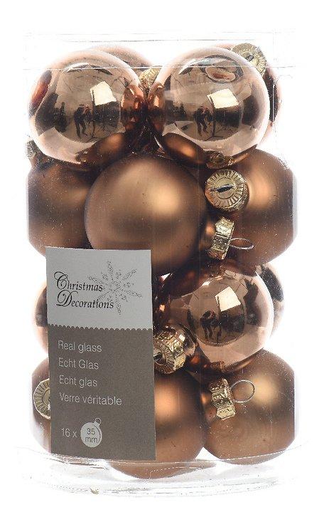 Kaemingk Weihnachtskugeln Mini 3,5cm Glas glanz/matt 16 Stück braun - Pic 1