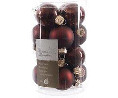 Kaemingk Weihnachtskugeln Mini 3,5cm Glas glanz/matt 16 Stück marsala