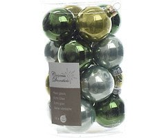 Kaemingk Weihnachtskugel-Mix Mini 3,5cm Glas Loved by nature 16 Stück grün