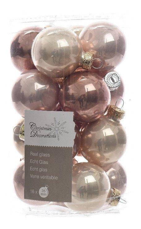Kaemingk Weihnachtskugel-Mix Mini 3,5cm Glas Remember when 16 Stück rosa - Pic 1