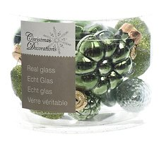 Kaemingk Weihnachtskugeln Figuren-Mix 4,5cm Glas Loved by nature 12 Stück grün