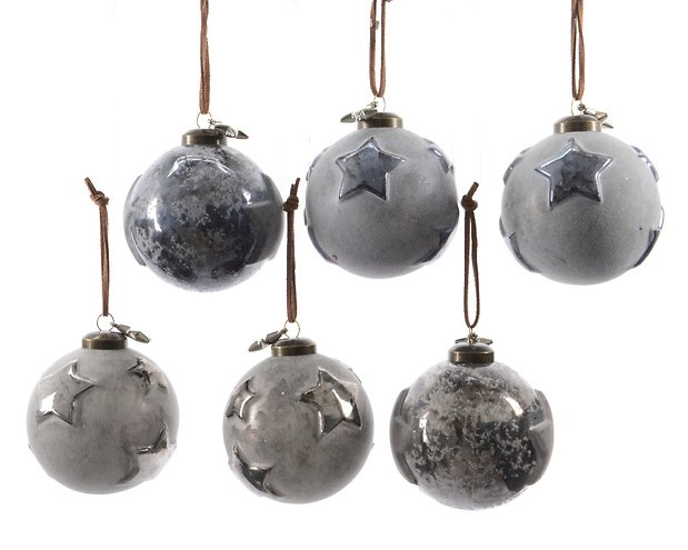 Kaemingk weihnachtskugeln stern 2er set glas 8cm grau for Weihnachtskugeln glas grau