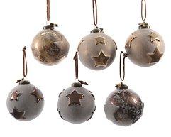 Kaemingk Weihnachtskugeln Stern 2er Set Glas 8cm roségold