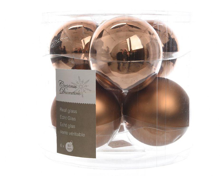Kaemingk Weihnachtskugel 8cm Glas glanz/matt 6 Stück braun - Pic 1