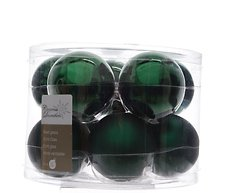 Kaemingk Weihnachtskugel 6cm Glas glanz/matt 10 Stück grün