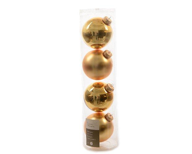 Kaemingk Weihnachtskugel 10cm Glas glanz/matt 4 Stück hellgold