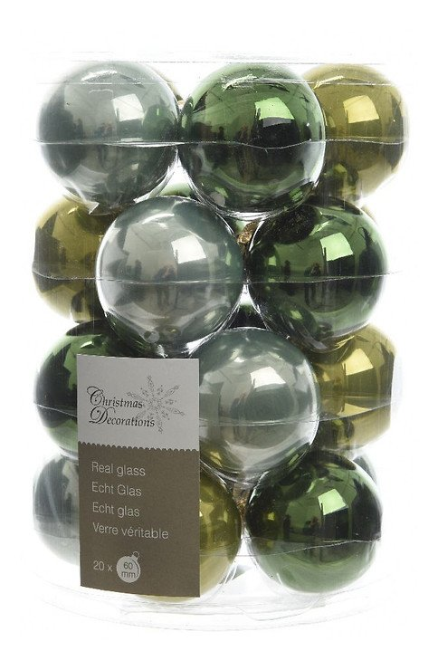 Kaemingk Weihnachtskugel-Mix 6cm Glas Loved by nature 20 Stück grün - Pic 1