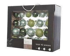 Kaemingk Weihnachtskugel-Mix 7/6/5cm 42 Stück Glas grün