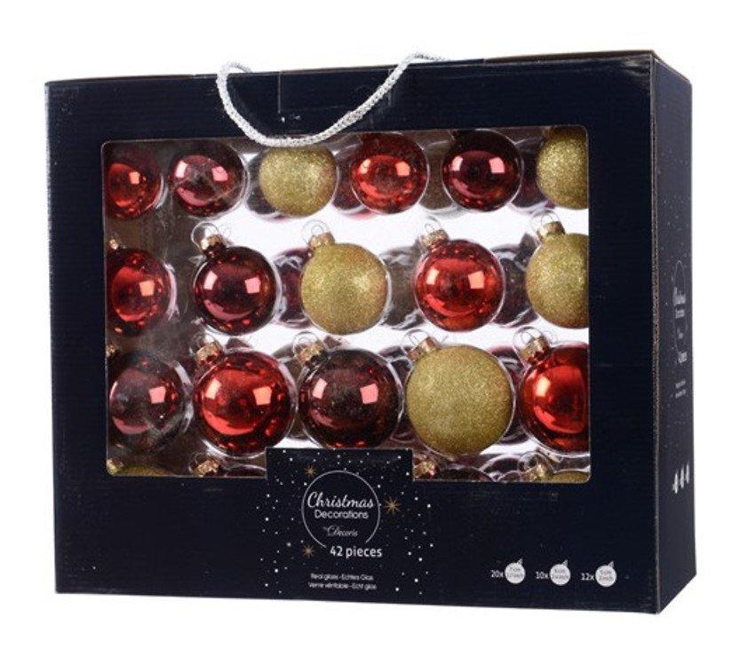 Kaemingk Weihnachtskugel-Mix 7/6/5cm 42 Stück Glas rot gold - Pic 1