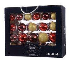 Kaemingk Weihnachtskugel-Mix 7/6/5cm 42 Stück Glas rot gold