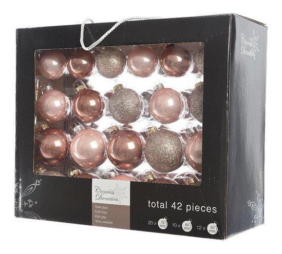 Kaemingk Weihnachtskugel-Mix 7/6/5cm 42 Stück Glas rosa