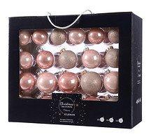 Kaemingk Weihnachtskugel-Mix 7/6/5cm 42 Stück Glas blush pink